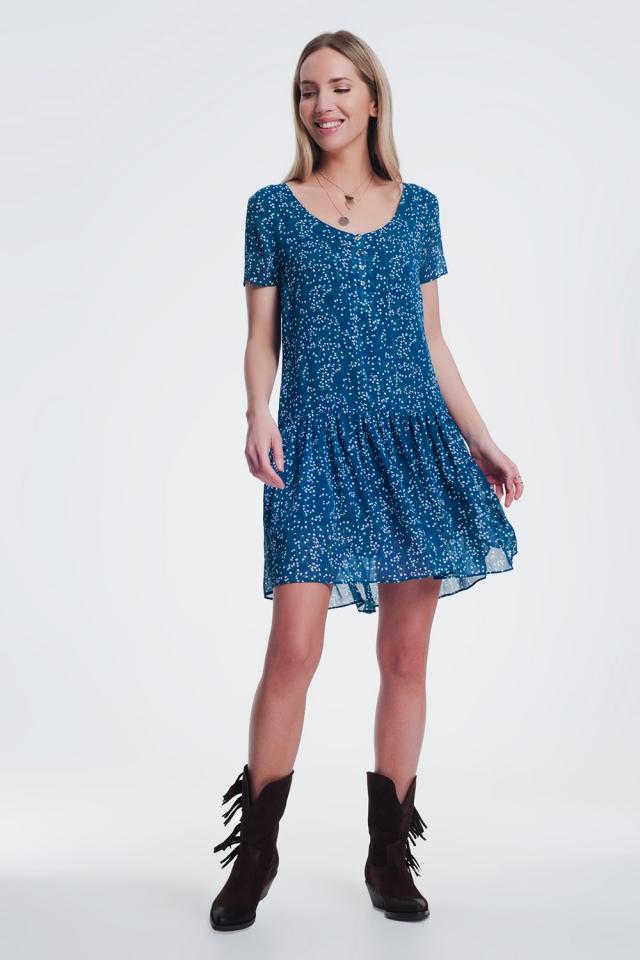 Blaues Geblümtes Mini-Hängerkleid mit V-Ausschnitt und Schößchensaum