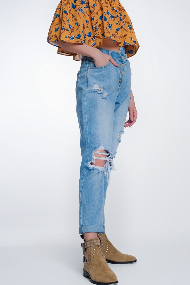 high waist mom jeans with button front