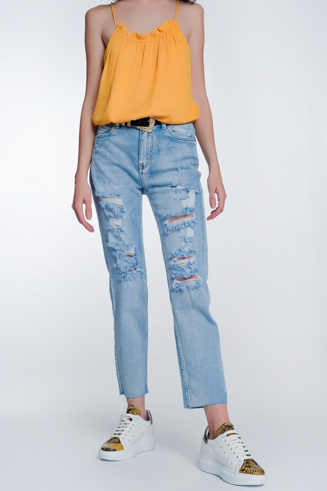 wide leg cropped raw hem jeans in light blue