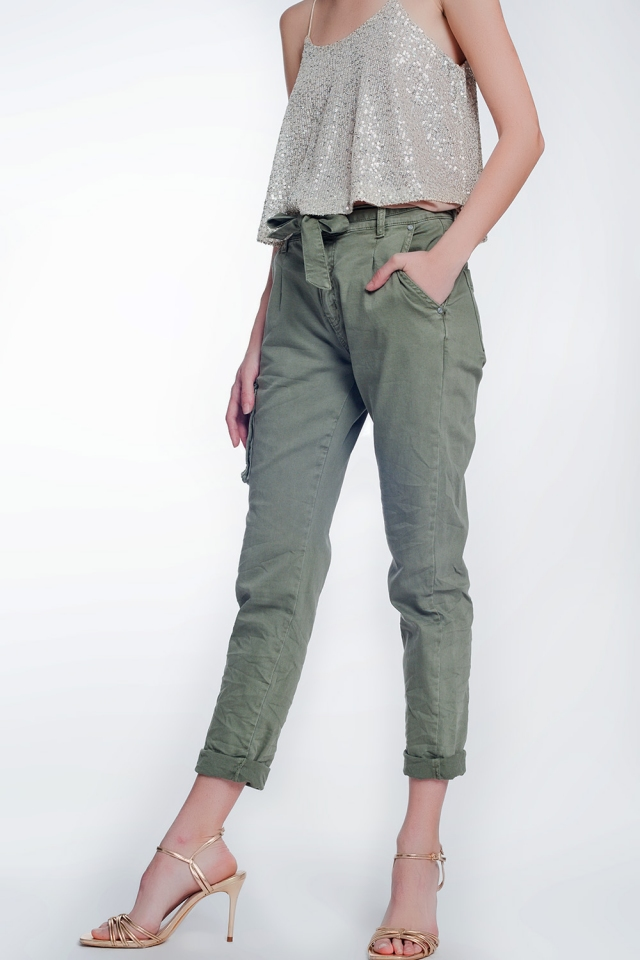 straight cut pants in khaki