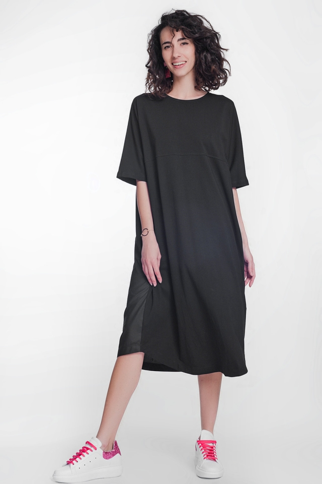 round neck poplin t-shirt dress in black