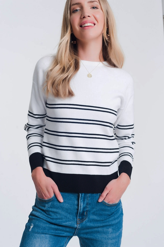 Skinny knitted breton stripe sweater in white