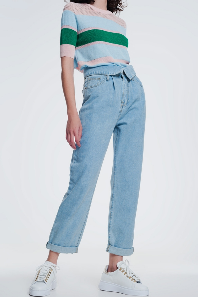 Light denim straight jeans with folded waist