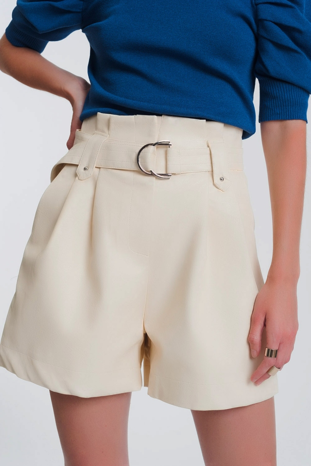 leather look short with pockets and paperbag waist