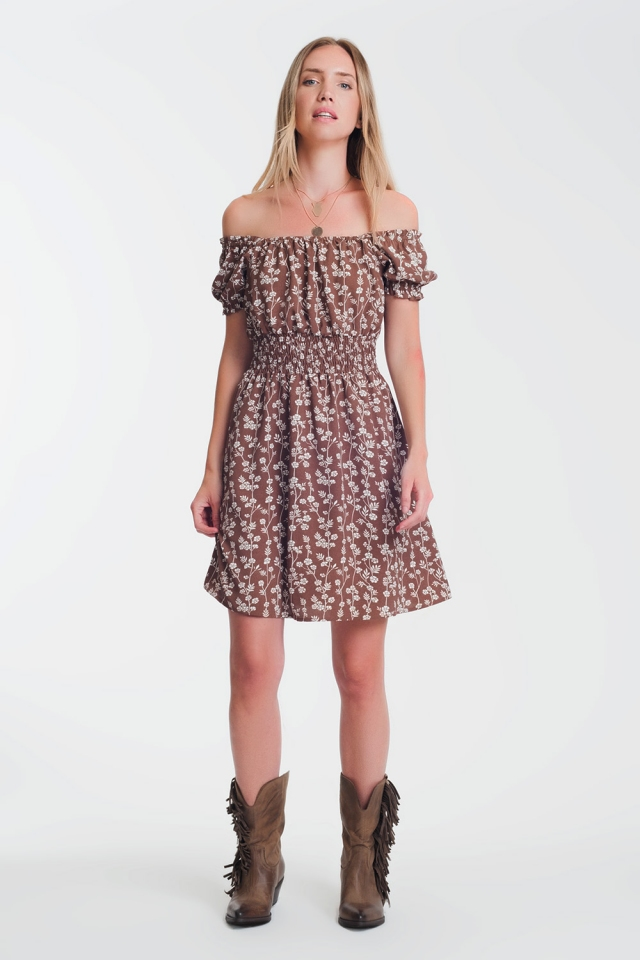 Brown mini bardot dress in floral print