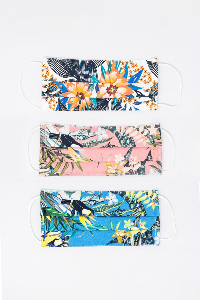 3 PACK Mix Color Tropical Print Mask
