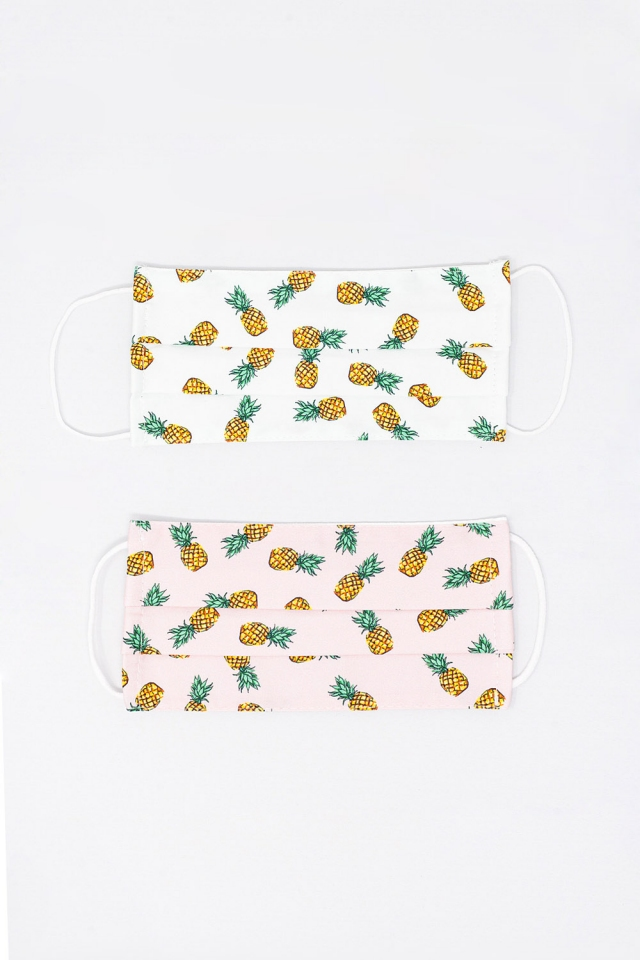 2 PACK Pineapple Print Mask