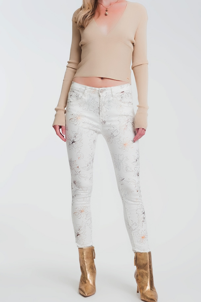 white skinny jeans with floral pattern
