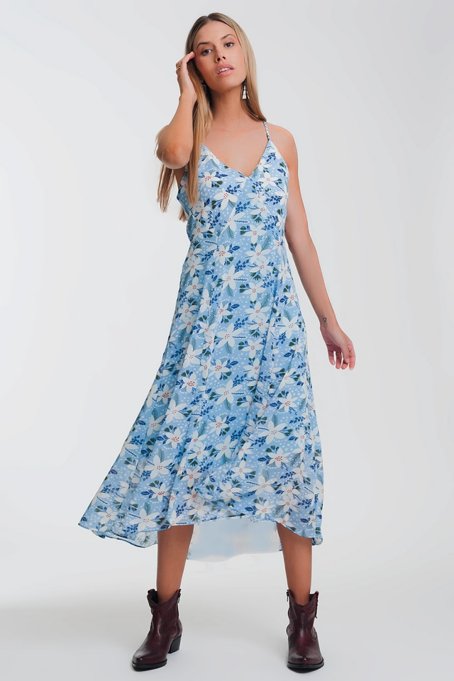 cami strap maxi dress in blue floral