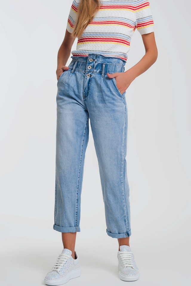 Light denim straight jeans with big waistband detail