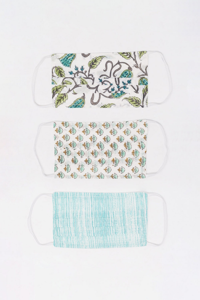 3 PACK mix green printed organic cotton mask
