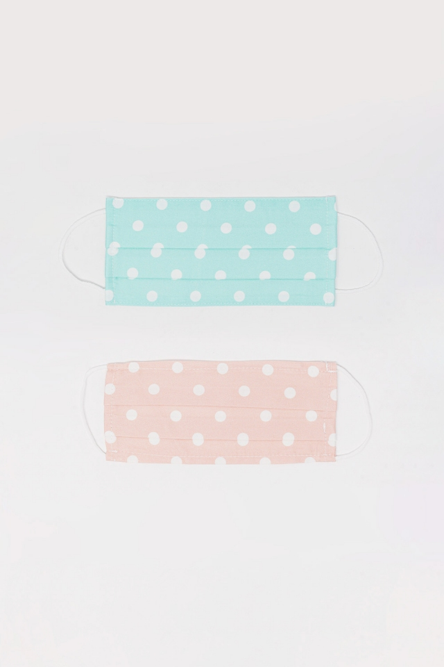 2 PACK Polka Dot blue and pink Mask
