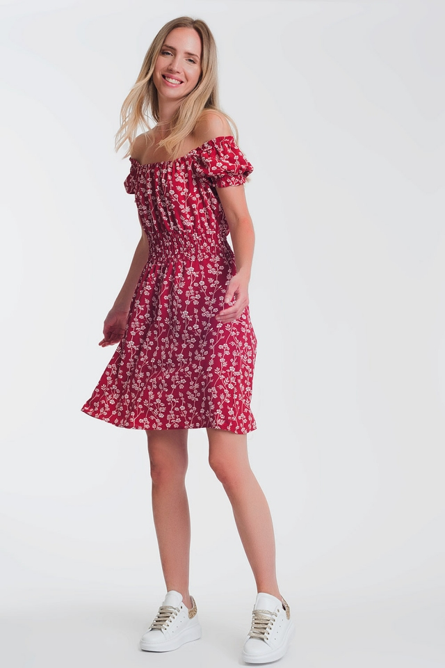 Red mini bardot dress in floral print