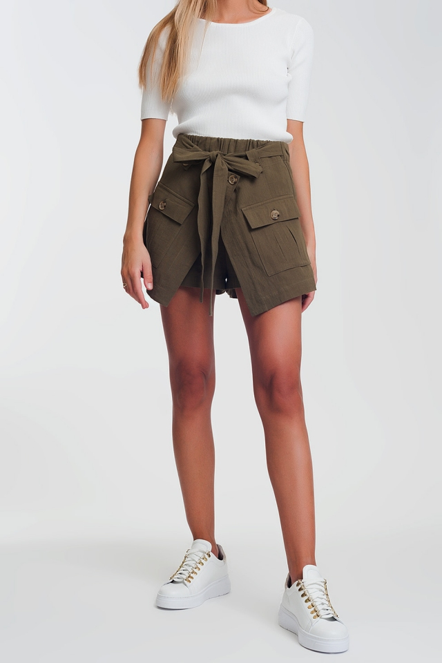 utility pocket shorts in khaki