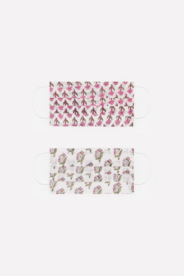 2 PACK organic cotton flower printed pink Mask