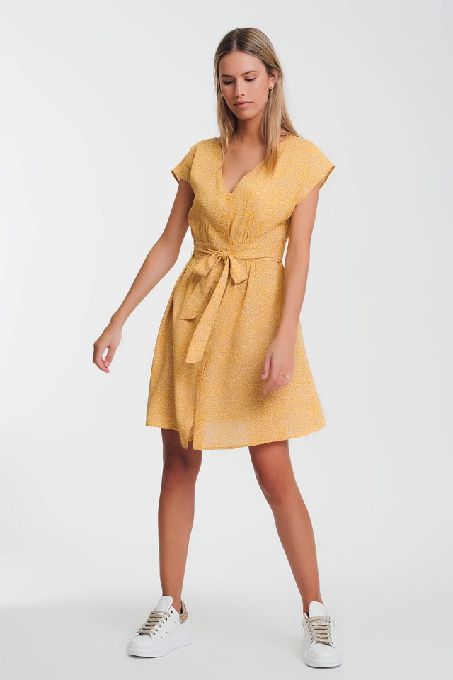 button through smock mustard dress in ditsy print