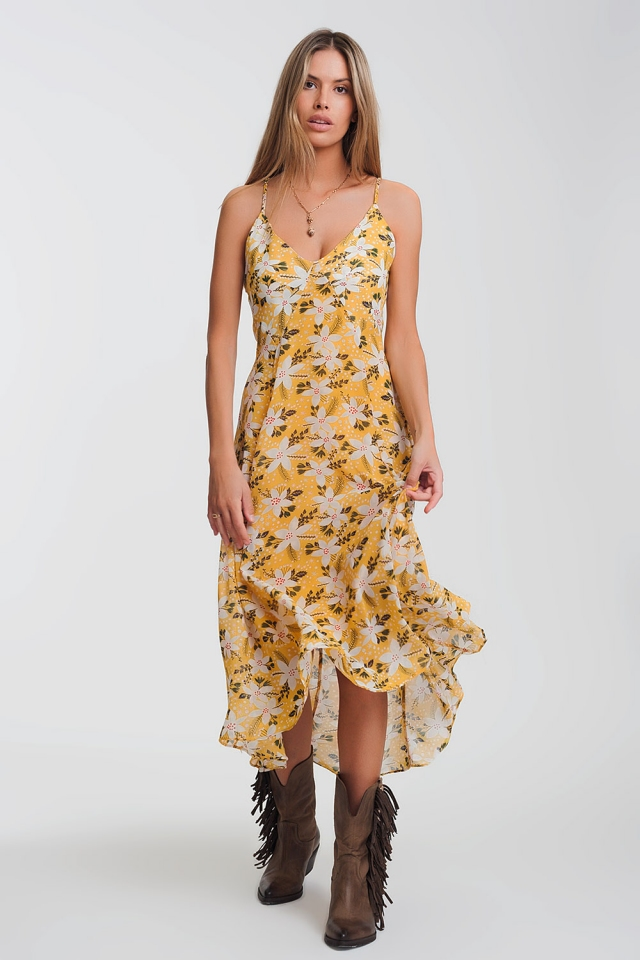 cami strap maxi dress in yellow floral