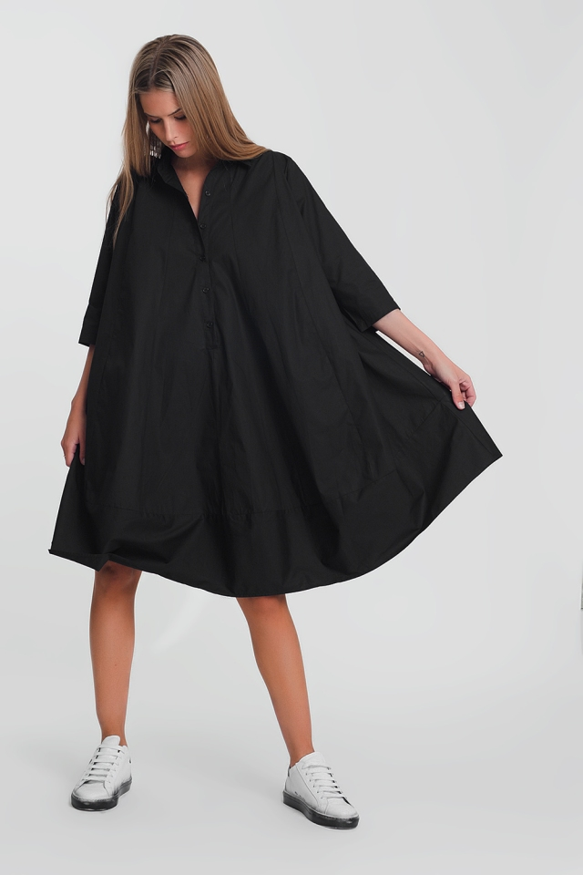Cotton poplin oversized smock dress in black