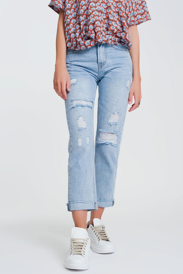 ripped straight jeans in light denim