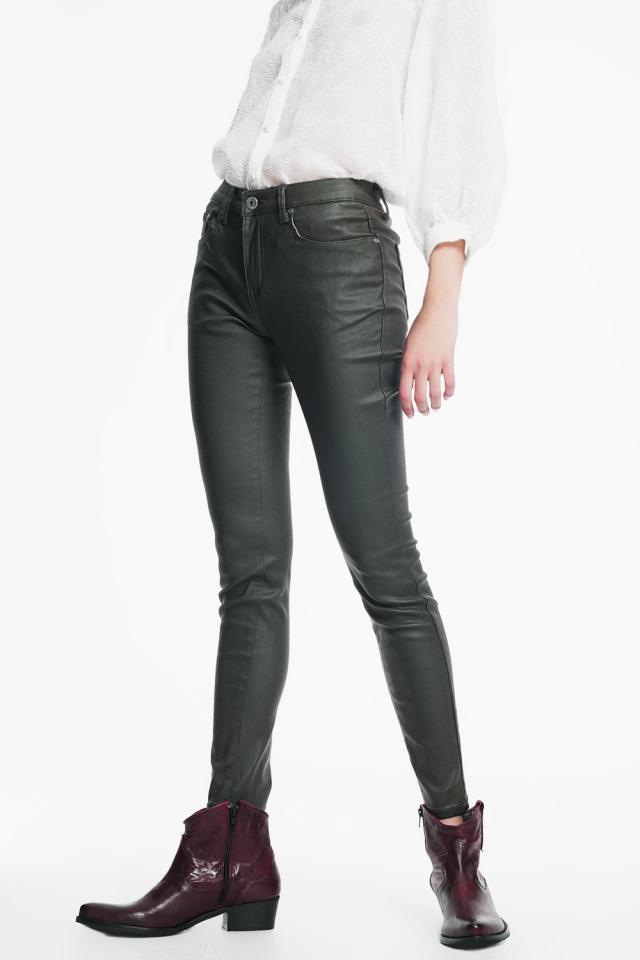 coated pants in khaki