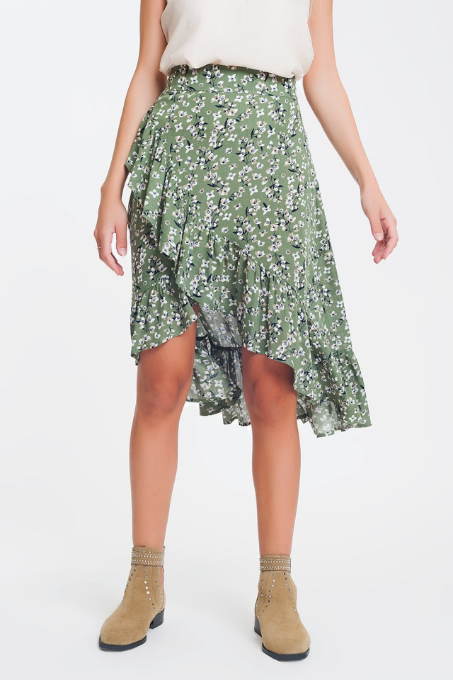 asymmetric wrap printed green skirt