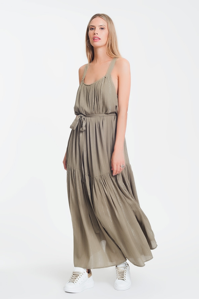 cross back maxi dress in khaki