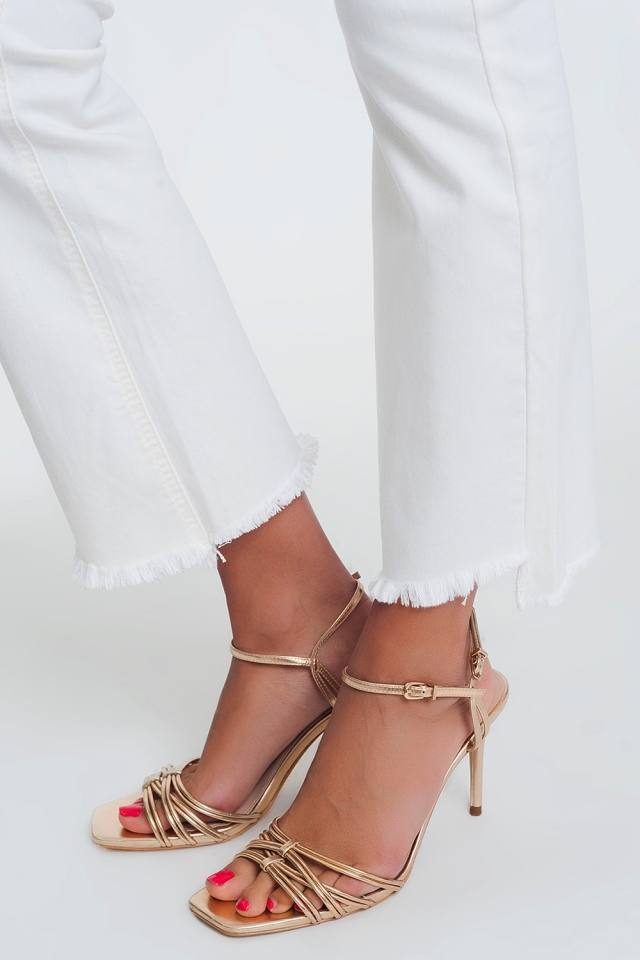 wide leg jeans with raw hem in cream