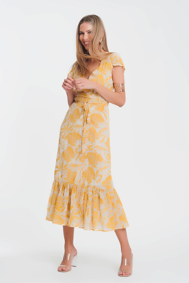 wrap front maxi dress in yellow tropical palm print