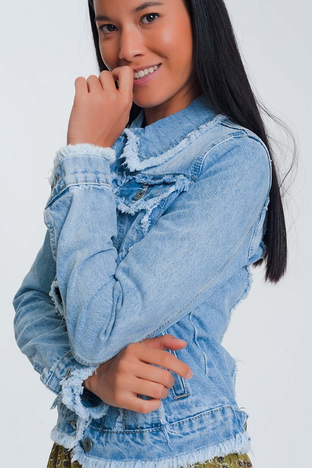 denim jacket with raw hem in light denim