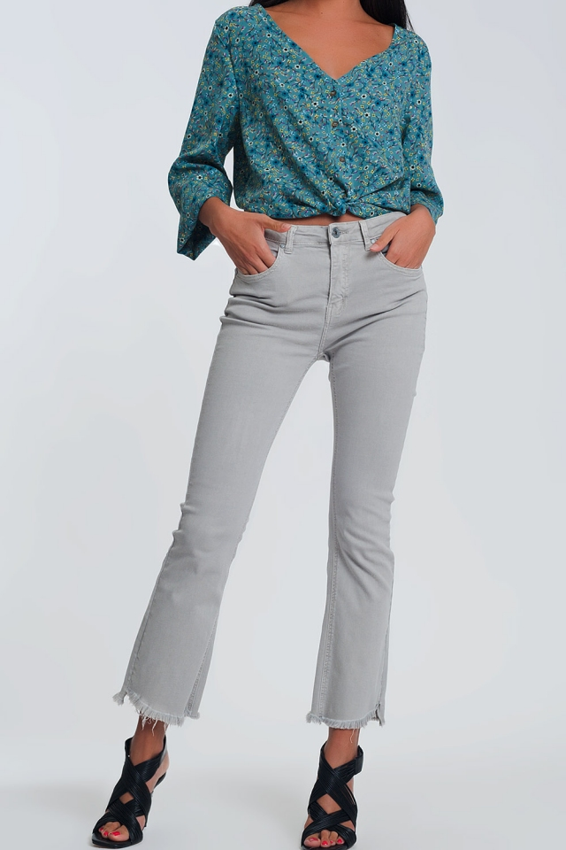 Straight Pants in gray with wide ankles