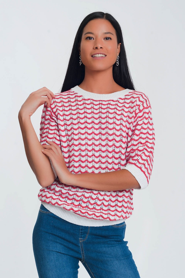 Red knitted sweater with 1/2 sleeves