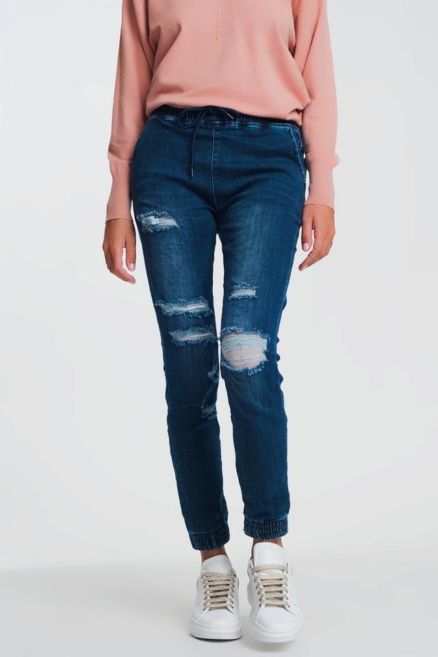 Lightweight jogger jeans in denim