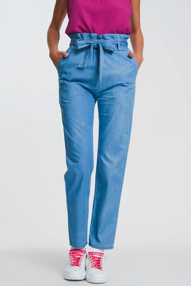 Lightweight Paperbag tie waist jean in light blue