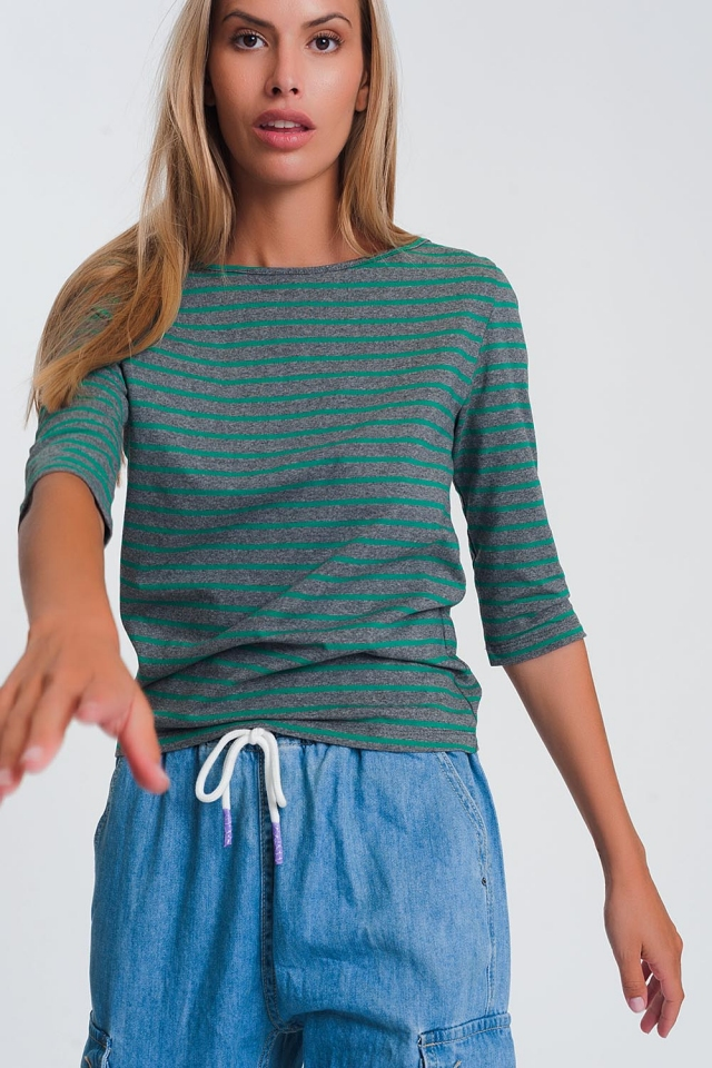3/4 sleeve stripe shirt with boat neck in green