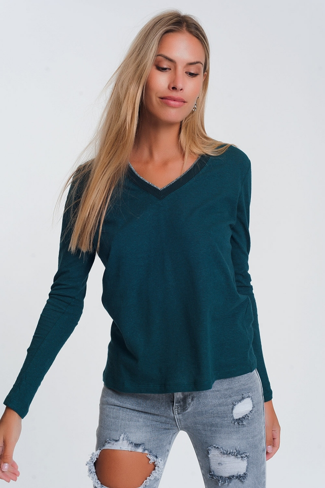Lightweight glitter v neck jumper in green