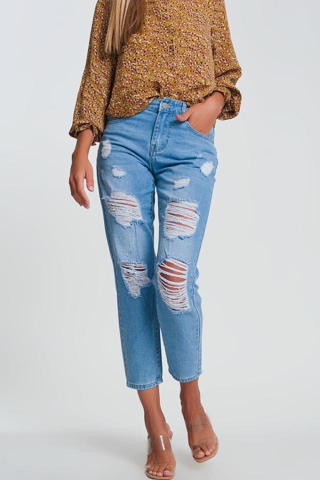 High rise straight leg ripped jeans in light denim