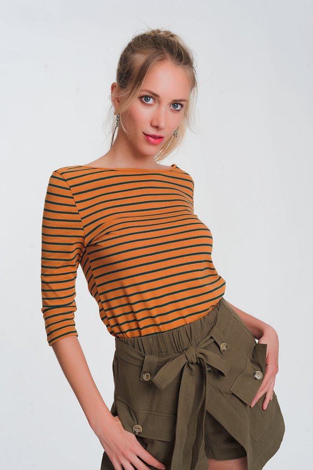 3/4 sleeve stripe shirt with boat neck in mustard
