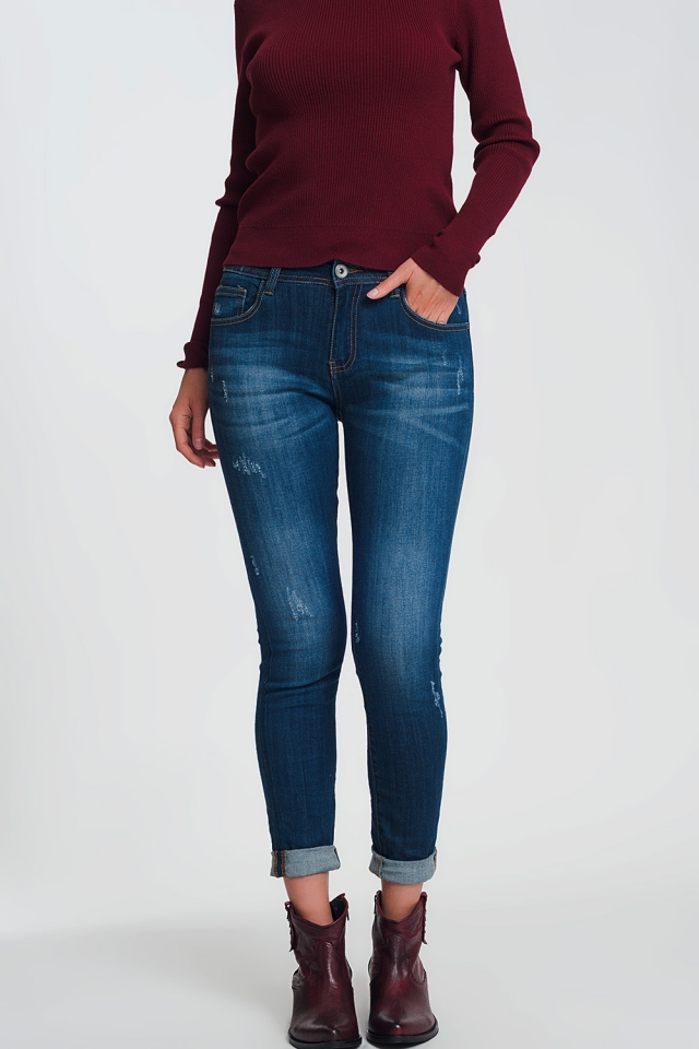 Dark washed long skinny jeans