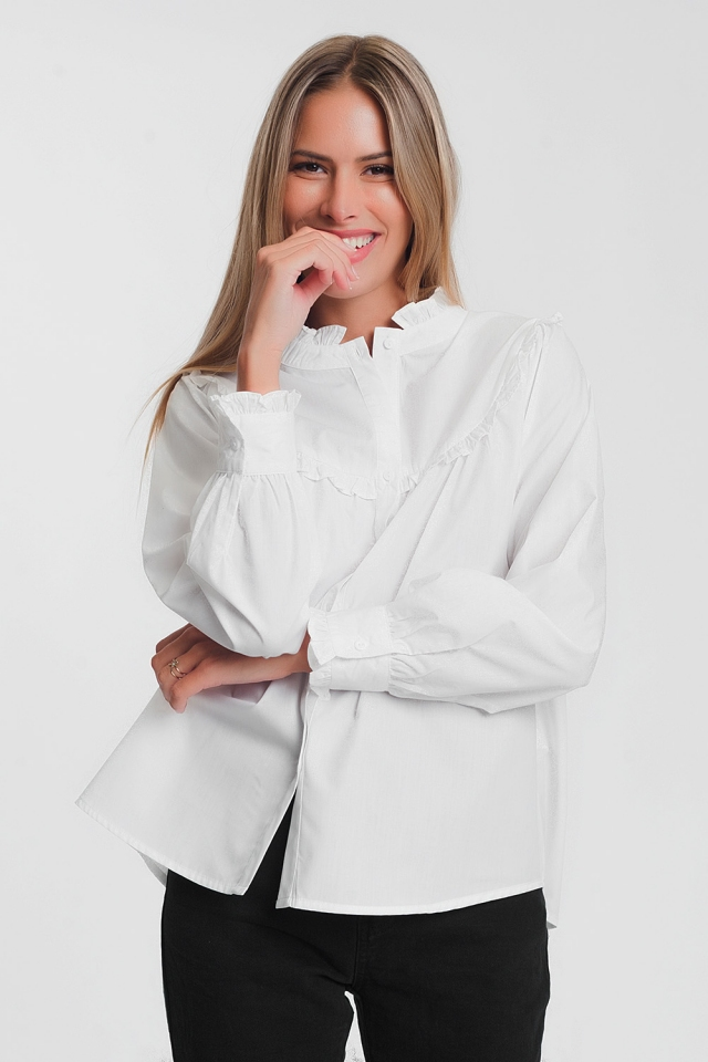 White poplin shirt with ruffles