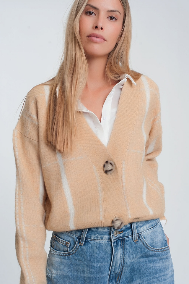 Beige cardigan with white stripes