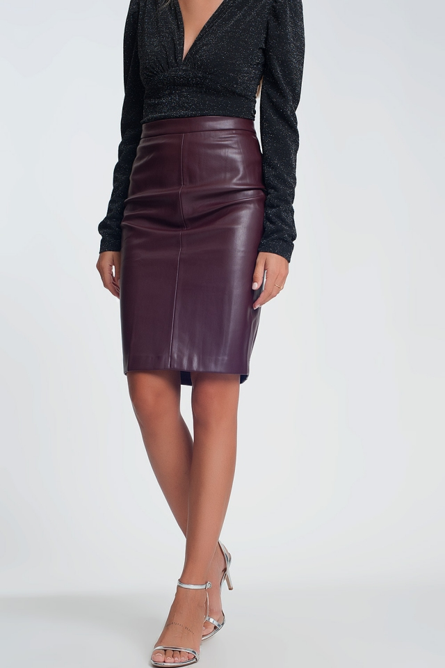 Maroon Faux Leather Pencil Skirt
