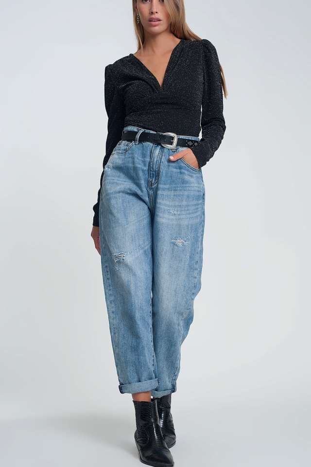 Wide leg high waisted jeans in light denim