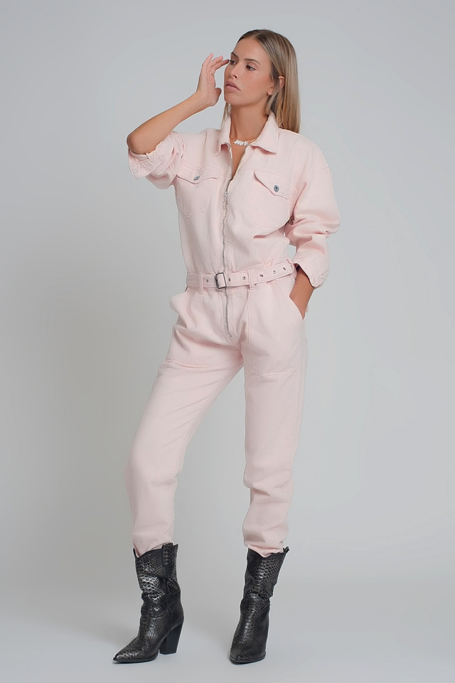 Pink denim jumpsuit with long sleeves