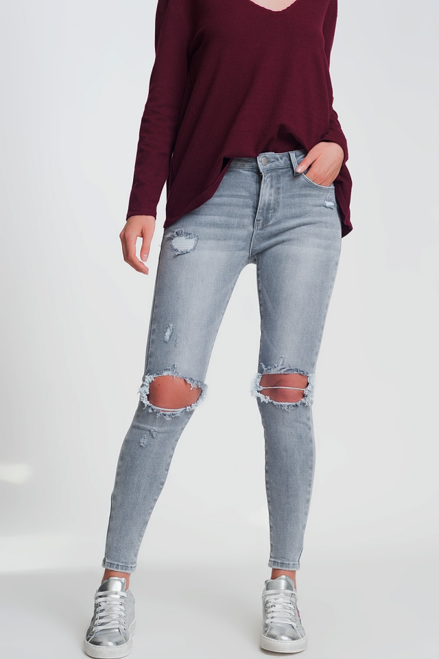 skinny fit rip knee jeans in gray