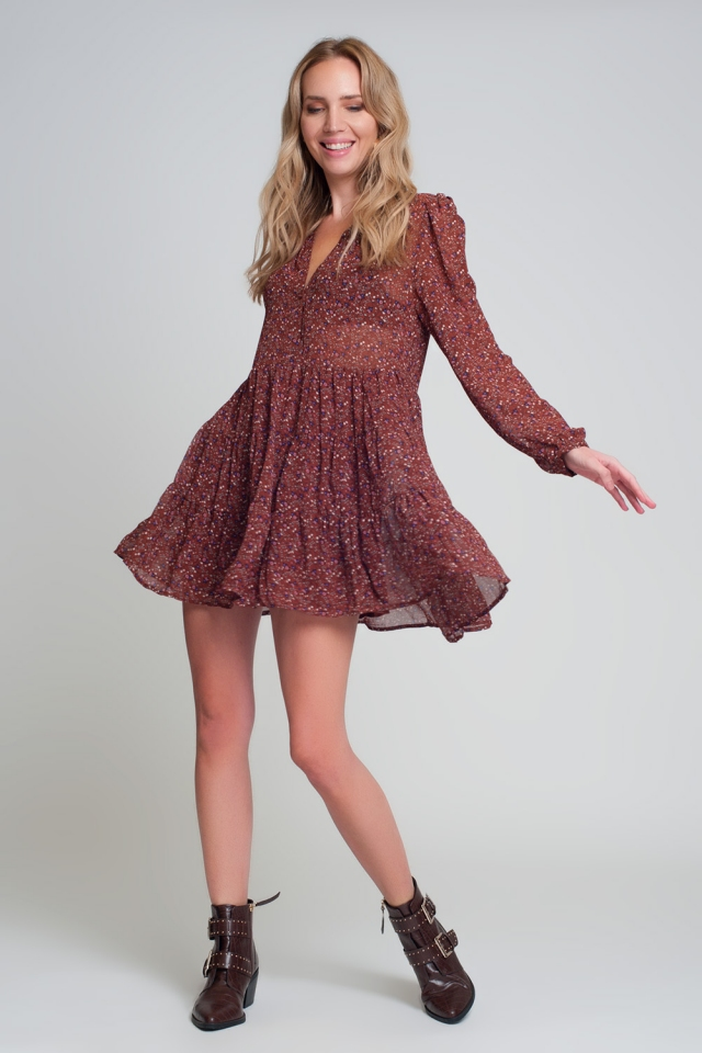 Brown short chiffon dress with long sleeves and ruffles in floral print