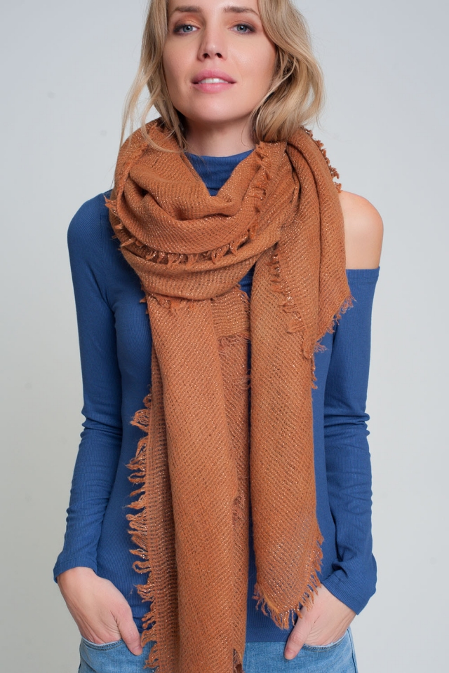 Lightweight knitted scarf in orange