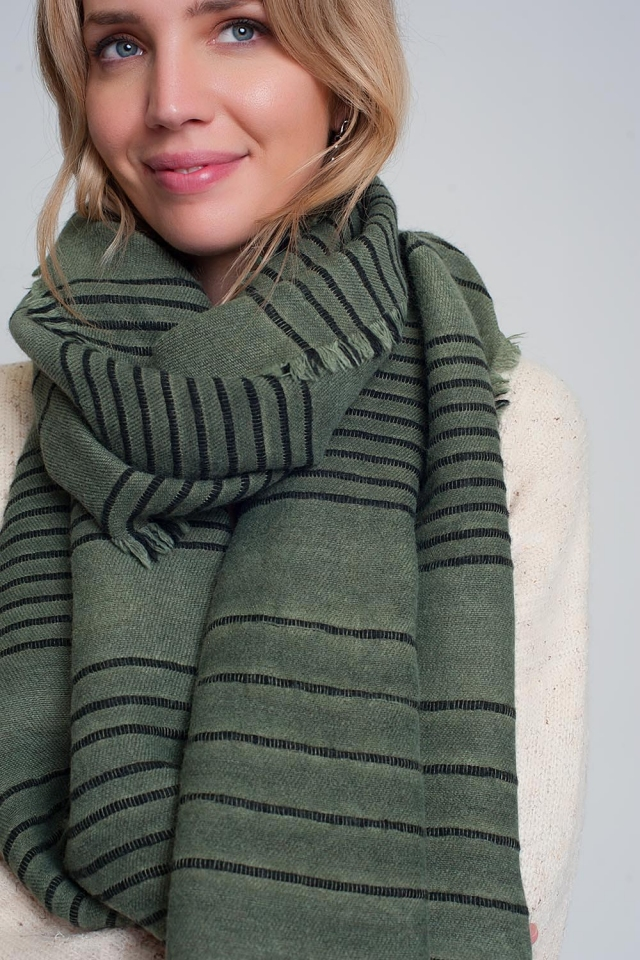 Green scarf with black stripes