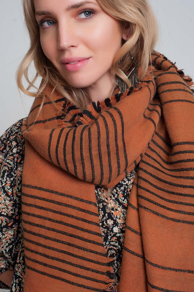 Orange scarf with black stripes
