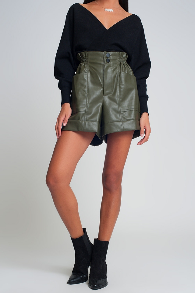 Paper-bag waist faux leather shorts in green