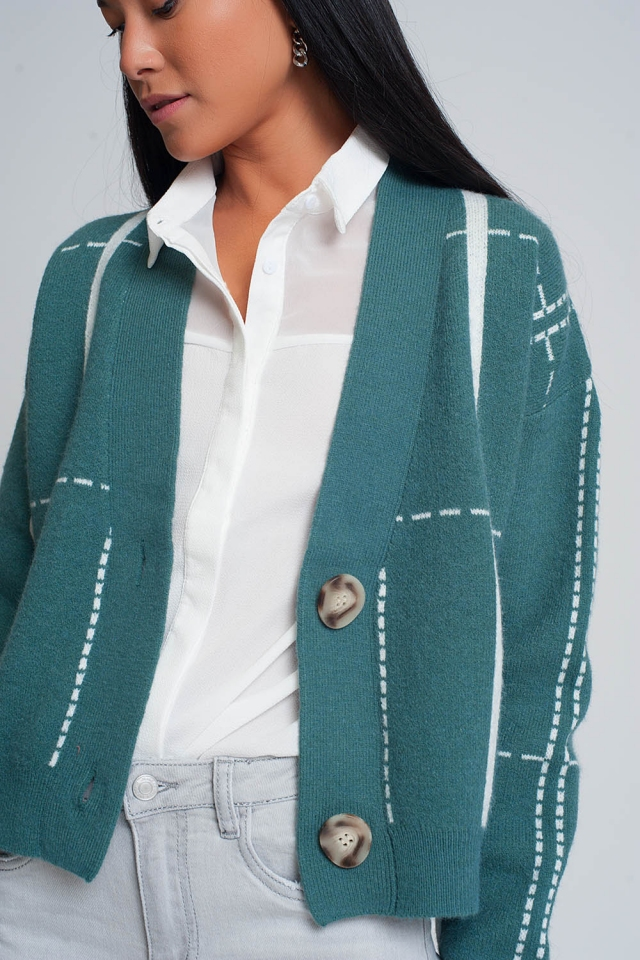 Button through v neck cardigan in green